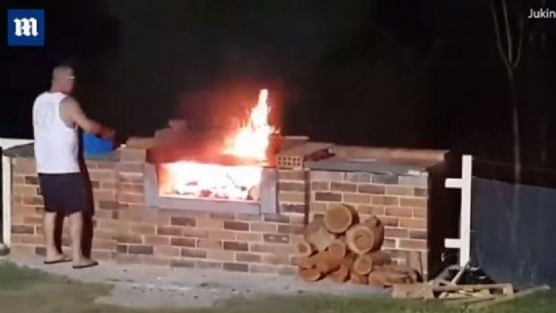 Le tiró nafta al asado y terminó prendido fuego